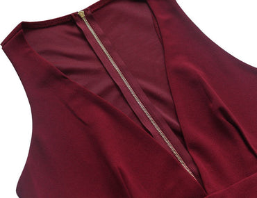 burgundy sleeveless pocket details party dress