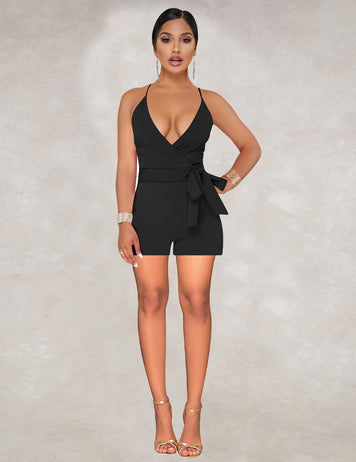 Deep V-Neck Tied Bowknot Waist Solid Sexy Jumpsuit