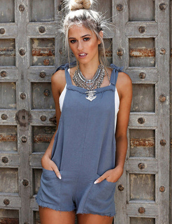 Denim Blue Romper With Pockets