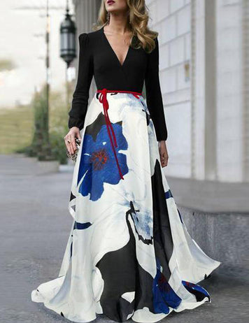 Elegant V-Neck Long Sleeves Belt Printed Stitching Maxi Dress