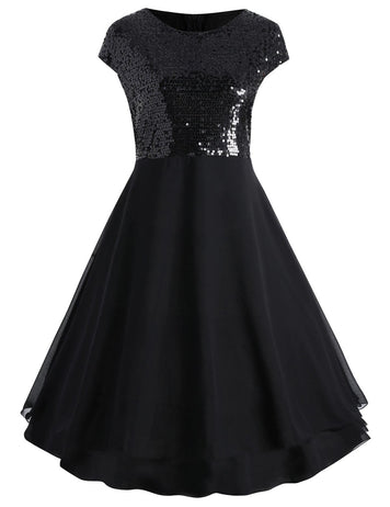 Fashion A-Line Round Neck Sequins Stitching Dress