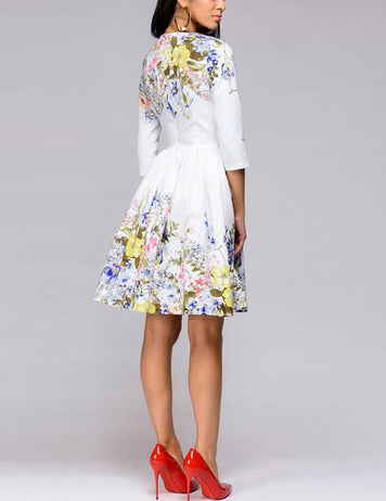 Fashion Crew Neck Floral Printed A-Line Dress