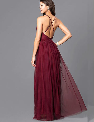 Elegant Sexy Backless Sleeveless Chiffon Wedding Maxi Dress