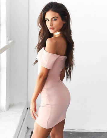 women sexy pink off shoulder bodycon dress