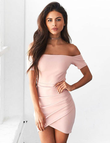 fashion off shoulder mini bodycon dress