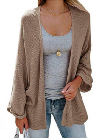 Fashion Solid Color Loose Casual Black Khaki Knit Cardigan Sweater Coat