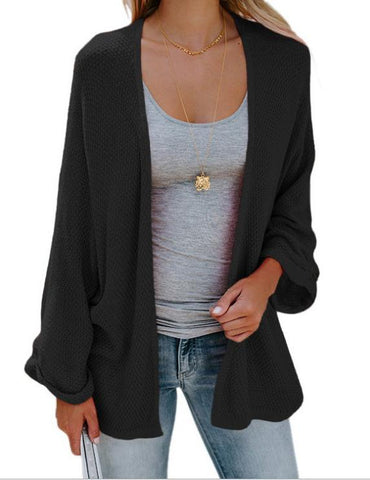 Fashion Solid Color Loose Casual Black Knit Cardigan Sweater Coat