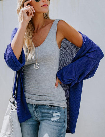 Fashion Solid Color Loose Casual Knit Cardigan Sweater Coat