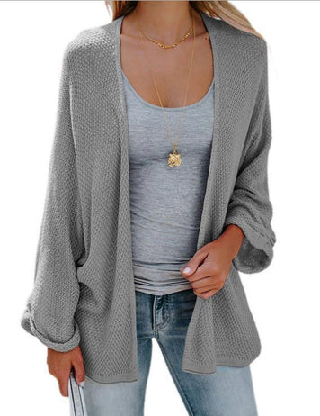 Fashion Solid Color Loose Casual Knit Grey Cardigan Sweater Coat