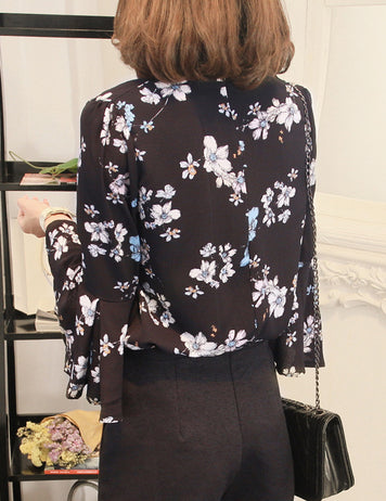 Fashion flower print black chiffon blouse