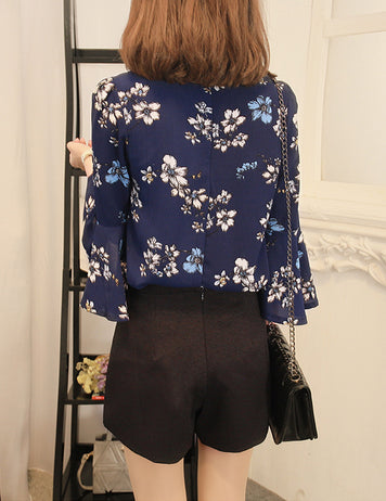 Fashion flower print blue chiffon blouse