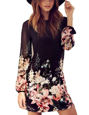 A-Line Long Sleeve Floral Print Chiffon Casual Mini Dress