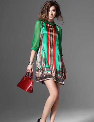 Green Boho Chic Silk Dress