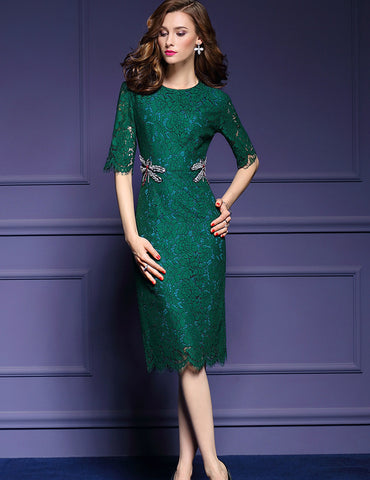 Green Dragonfly Decoration Lace Midi Dress