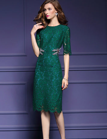 Green Guipure Lace Crew Neck Half Sleeves Beaded Dragonfly Slim Midi Dress