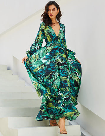 Green Leaf Print Lantern Sleeve Deep V-Neck Belt Tropical Beach Maxi Dress