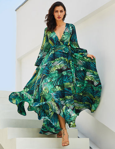 Green Tropical Beach Dress Long Sleeve Maxi Dress