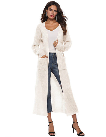 Irregular Split Large Pockets Long Sleeve Beige Sweater Cardigan