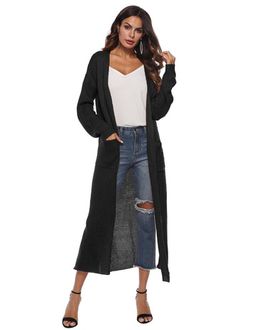Irregular Split Large Pockets Long Sleeve Sweater Cardigan