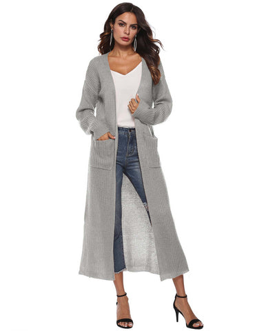 Irregular Split Large Pockets Long Sleeve Thick Grey Sweater Cardigan