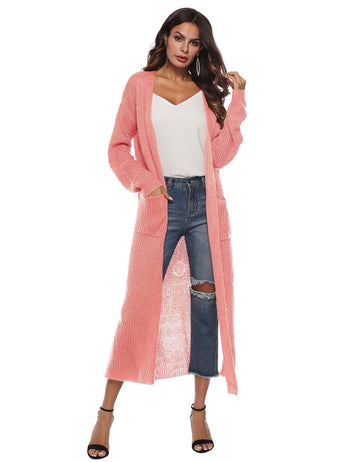 Irregular Split Large Pockets Long Sleeve Thick Pink Sweater Cardigan