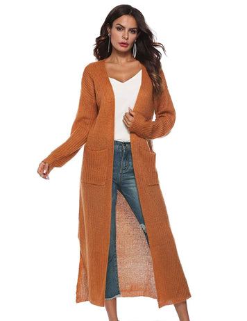 Irregular Split Large Pockets Long Sleeve Thick Sweater Cardigan