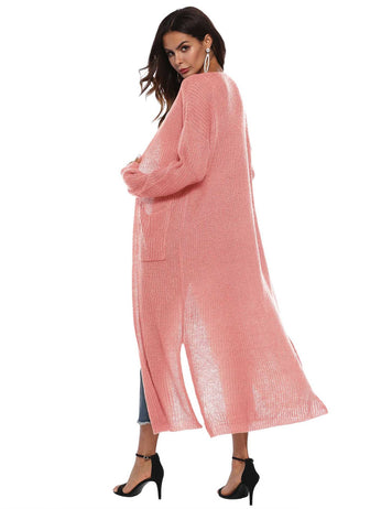 Irregular Split Large Pockets Pink Long Sleeve Sweater Cardigan