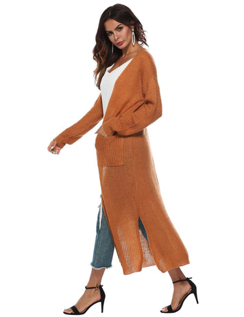 Irregular Split Pockets Long Sleeve Thick Sweater Cardigan