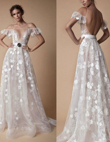 Lace V-Neck Backless A Line Maxi Wedding Dress