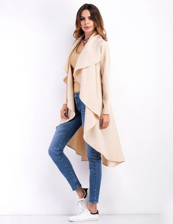 Lapel Collar Women Long Sleeve Irregular Coat