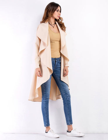 Lapel Collar Women Long Sleeve Irregular Windbreaker Coat