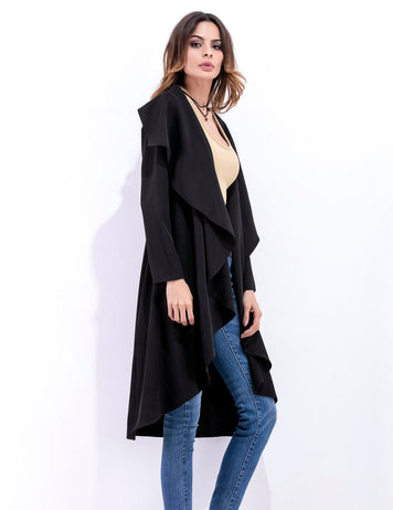 Lapel Collar Women's Long Sleeve Irregular Black Coat
