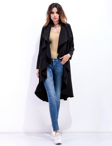 Lapel Collar Women's Long Sleeve Irregular Windbreaker Coat