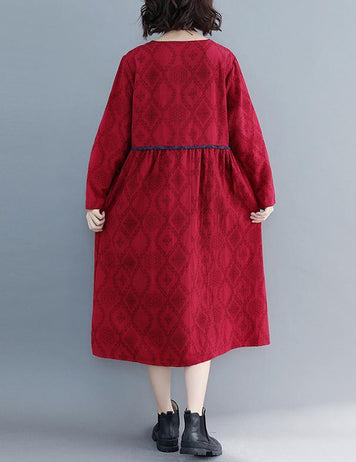 Large Size Round Neck Long Sleeve Loose Cotton Red Midi Dress