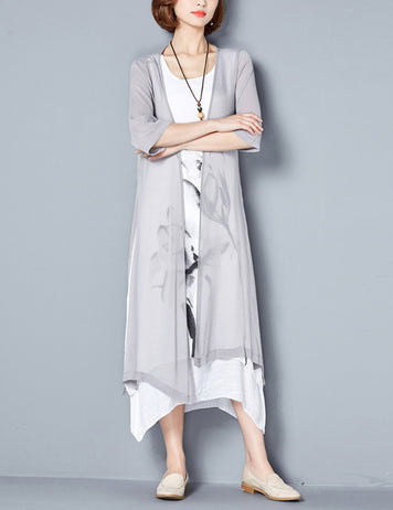 Light Grey Floral 3/4 Sleeves Midi Shift Dress