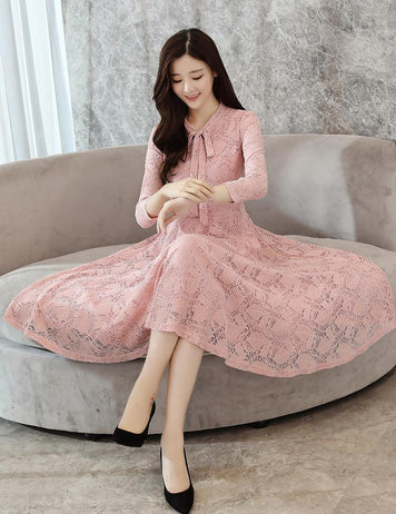Long Sleeve Tied Bowknot Pink Lace Midi Dress