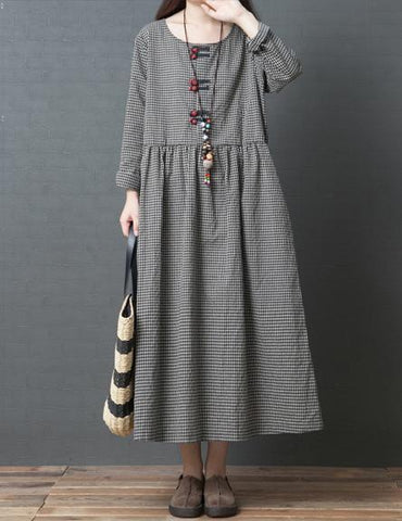 Loose Plus Size Comfortable Round Neck Long Sleeve Plaid Dress