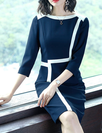 Zipper Paneled Slim Seven-Tenths Sleeves Work Style Bodycon Dress