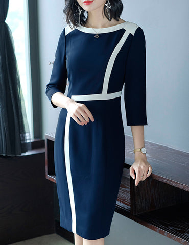 Navy Blue Zipper Paneled Slim Seven-Tenths Sleeves Work Style Bodycon Dress