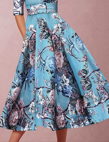 Hand-Paint Flower Print Dress