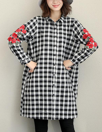 New Embroidered Long Sleeved Casual Loose Long Plaid Blouse