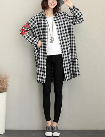 New Fashion Embroidered Long Sleeved Casual Long Plaid Blouse