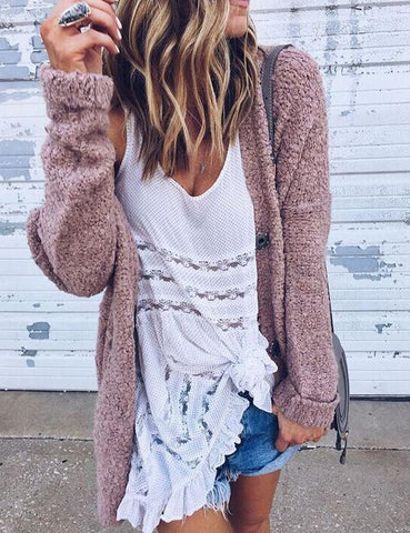 New Fashion Loose Long Sleeve Fluffy Cardigan Casual Coat