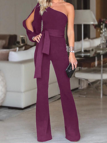New One-shoulder Sleeve Tied Belt Waist Solid Fashion Jumpsuit
