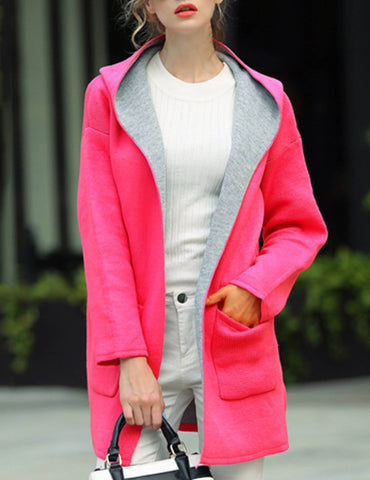 New Plus Size Red Long Sleeve Loose Casual Wool Hooded Coat