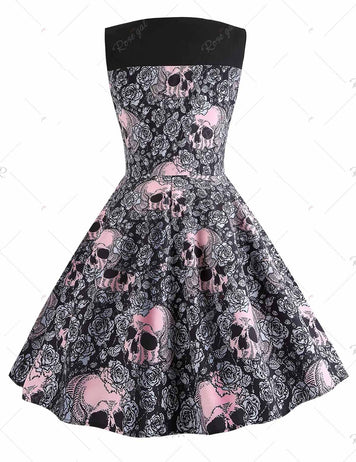 New Round Neck Halloween Skull Printed Vintage Dress