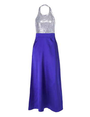 New Sexy Halter Backless Blue Sequins Satin Evening Maxi Dress