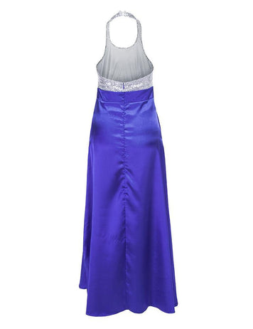 New Sexy Halter Backless Blue Sequins Satin Party Maxi Dress