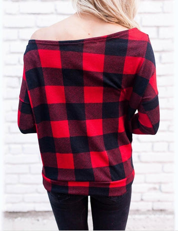 New Sexy Off Shoulder Long Sleeve Red Striped  Top