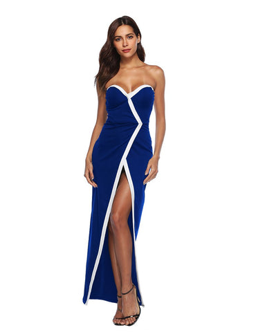 New Sexy Sweetheart Front Split Long Blue Party Dress